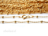 1,0mm Sterling Zilveren Collier Anker met Balletjes- 45cm, Verguld_