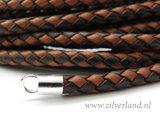 20cm Gevlochten 6mm Leerkoord- Donkerbruin/Lichbruin_