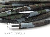 20cm Gestikt 4mm Suede Leerkoord- Camouflage Lichtblauw_