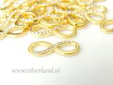 1 Stuk Sterling Zilveren Infinity Hanger met Kristallen- Verguld_