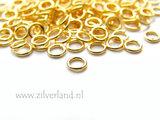 10 Stuks 0,80x4,50mm Gesloten Sterling Zilveren Montageringen- Verguld_