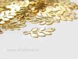 Sterling Zilveren Hanger/Connector- Takje met Blaadjes Verguld_