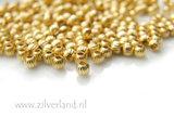 50 Stuks 3mm Sterling Zilveren Kralen- Geribbeld Verguld_