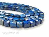 8-9mm Lapis Lazuli Kubus Kralen- Facet_