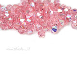 10 Stuks 4mm Swarovski Bicone Kristallen- Light Rose AB_