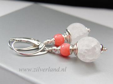 Sterling Zilveren Oorbellen met Bergkristal en Koraal