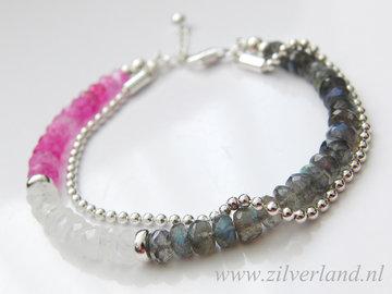 Sterling Zilveren Armband met Labradoriet en Maansteen