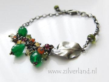Handgemaakte Zilveren Armband met Groene Onyx