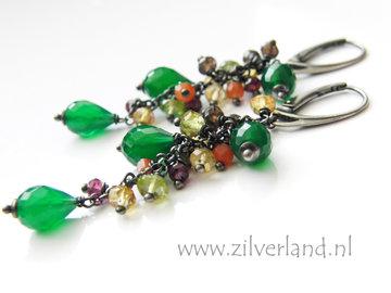 Handgemaakte Zilveren Oorbellen met Groene Onyx