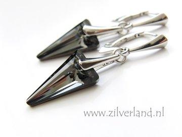 Zilveren Oorbellen met Swarovski Spike