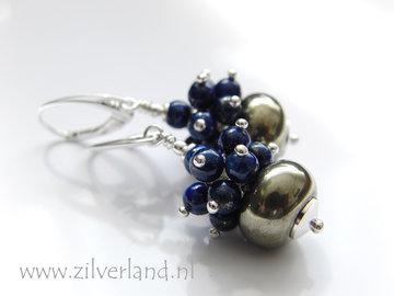 Handgemaakte Zilveren Oorbellen met Pyriet en Lapis Lazuli