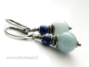 Handgemaakte Zilveren Oorbellen met Aquamarijn en Lapis Lazuli