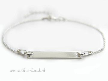 Sterling Zilveren Armband met Graveerplaatje/Naamplaatje