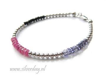 Sterling Zilveren Armband met Roze Saffier, Ioliet en Spinel- Gerhodineerd
