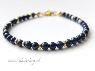 Sterling Zilveren Armband met Lapis Lazuli- Verguld