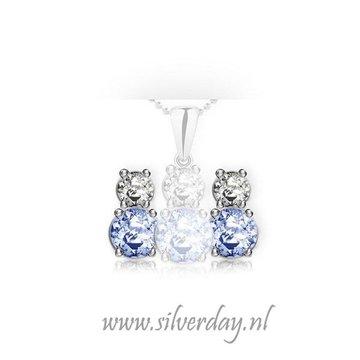 Sterling Zilveren Oorstekers met Dubbele Swarovski Zirconia
