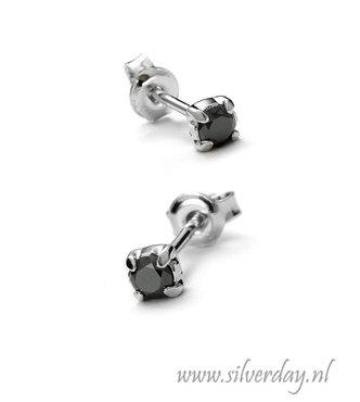 Sterling Zilveren 3mm Oorstekers met Zwarte Diamant- Gerhodineerd