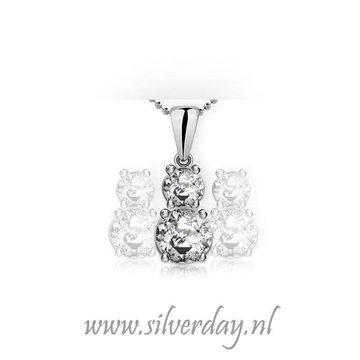 Sterling Zilveren Ketting met Dubbele Swarovski Zirconia