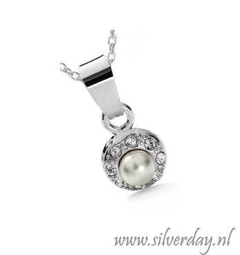 Sterling Zilveren Ketting met Swarovski Parels en Kristallen- Gerhodineerd