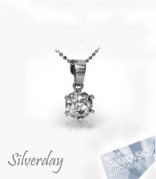 Sterling Zilveren Ketting met Swarovski Zirconia