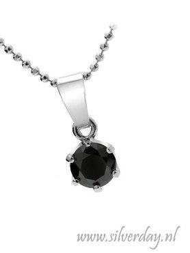 Sterling Zilveren Ketting met Zwarte Diamant- Gerhodineerd
