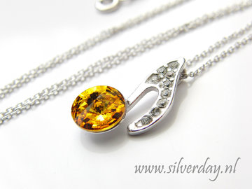 Sterling Zilveren Ketting met Swarovski Elements- Sunflower