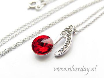 Sterling Zilveren Ketting met Swarovski Elements- Light Siam