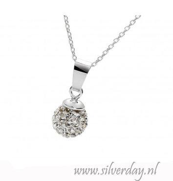 -Sterling Zilveren Ketting Discobal met Kristallen