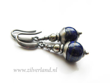 Handgemaakte Zilveren Oorbellen met Lapis Lazuli en Pyriet Edelstenen