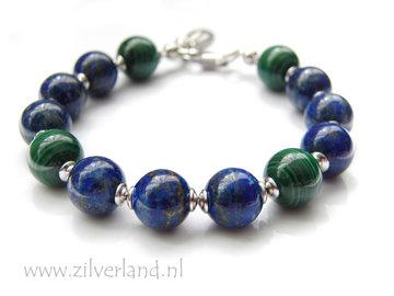 Handgemaakte Zilveren Armband met Lapis Lazuli & Malachiet- Gerhodineerd