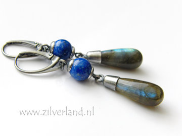 Handgemaakte Zilveren Oorbellen met Labradoriet en Lapis Lazuli