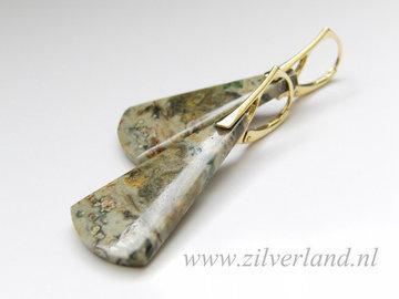 Sterling Zilveren Oorbellen met Oceaan Jaspis