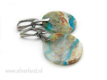 Handgemaakte Zilveren Oorbellen met Blauwe Opaal