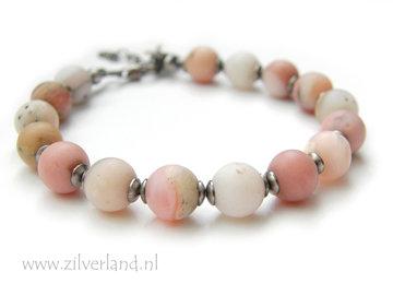 Handgemaakte Edelsteen Armband met Roze Opaal