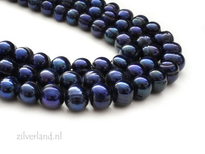 8mm-9,5mm Donkerblauwe Potato Zoetwaterparels