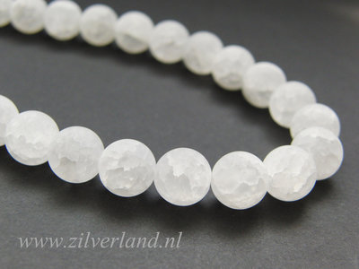 10mm Bergkristal Kralen Mat/Craquele