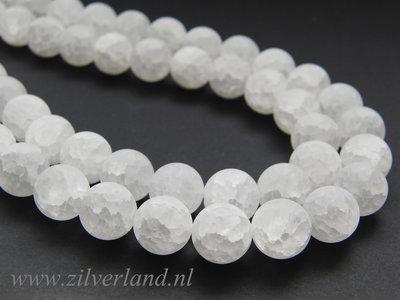 12mm Bergkristal Kralen Mat/Craquele
