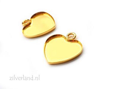 Sterling Zilveren Hanger voor Swarovski Hart Kristallen of UV Hars/Resin- Verguld