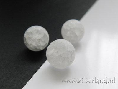 1 Stuk 12mm Bergkristal Kraal Mat/Craquele