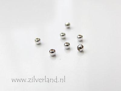 100 Stuks 2mm Sterling Zilveren Kralen- Gerhodineerd