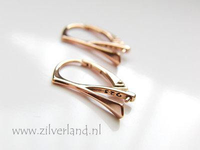 Sterling Zilveren Oorhaken met Klem- Rose Goud