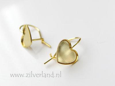 Sterling Zilveren Oorhaken voor Swarovski Heart Kristallen- Verguld
