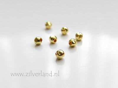 10 Stuks Sterling Zilveren Kralen- Gehamerd Verguld