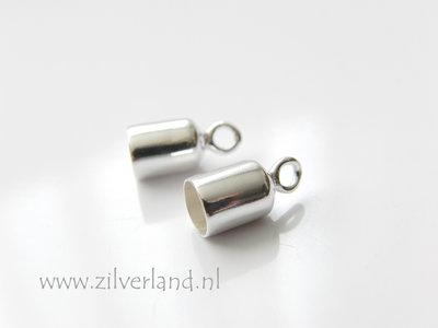 2 Stuks 6mm Sterling Zilveren Eindstuk