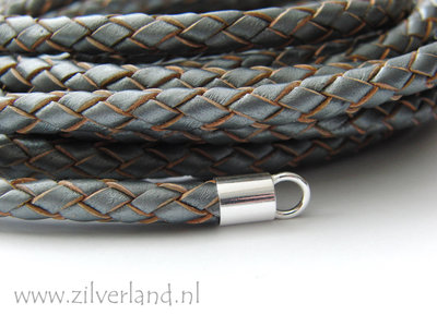 20cm Gevlochten 6mm Leerkoord- Metallic Grijs