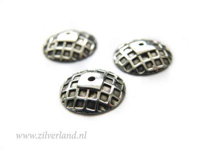 1 Stuk 11mm Sterling Zilveren Kralenkapje- Geoxideerd