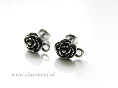 Sterling Zilveren Bali Oorstekers- Roosjes