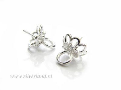 1 Stuk Sterling Zilveren Kraalhanger, Parelschotel met Kristallen
