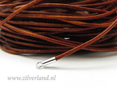 1 Meter Rond 1mm Leerkoord- Cognac