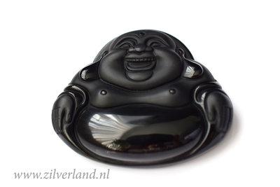 Obsidiaan Buddha Hanger Mat/Glad